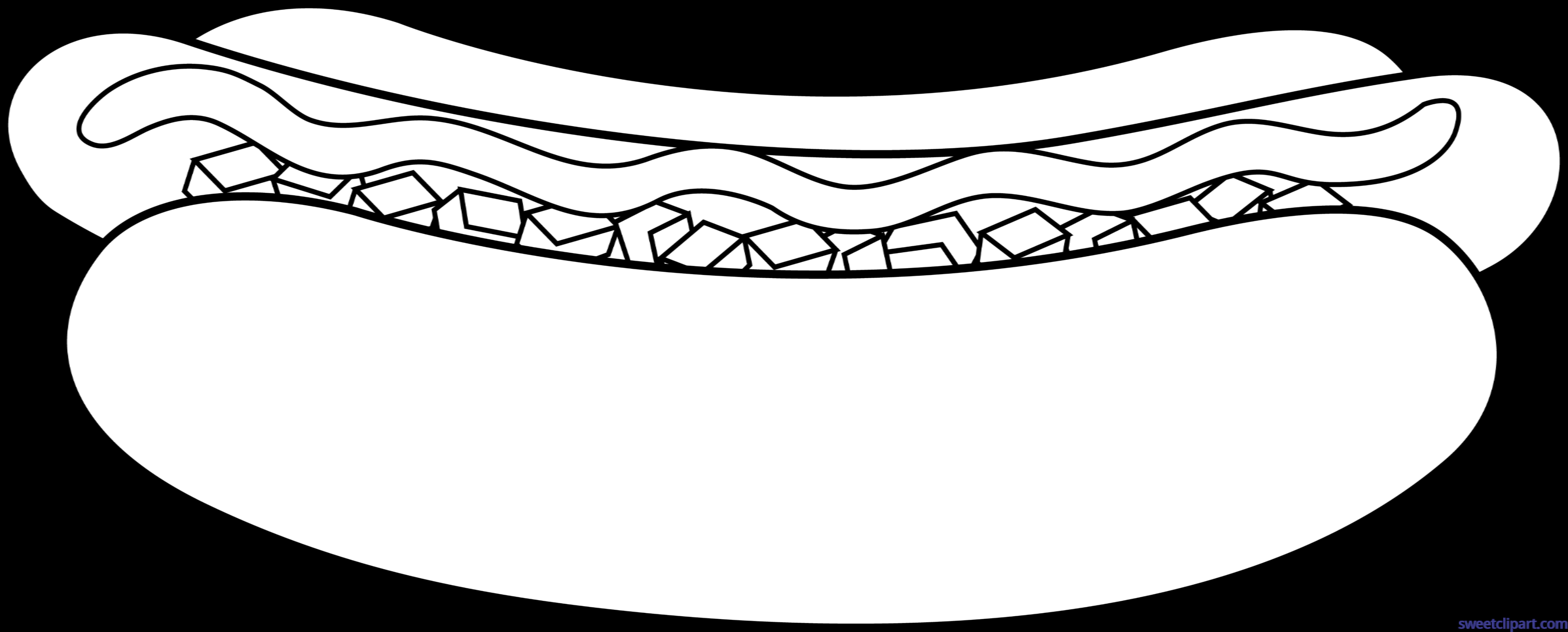 Hotdog clipart black and white. Lineart clip art sweet