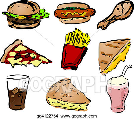 Hotdog clipart chicken pizza. Drawing fast food icons