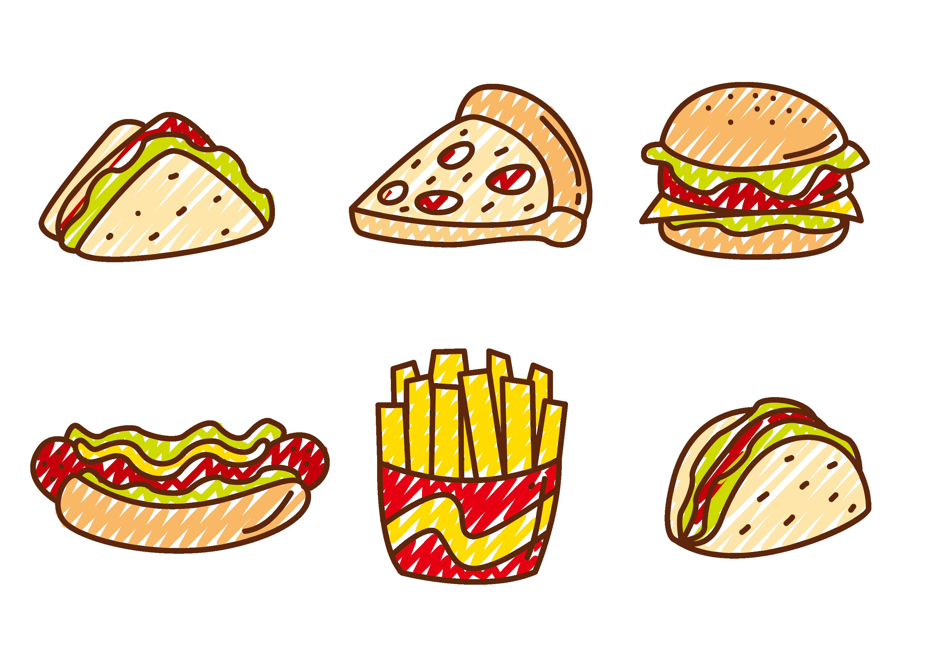 Hotdog clipart chicken pizza. Fast food hamburger hot