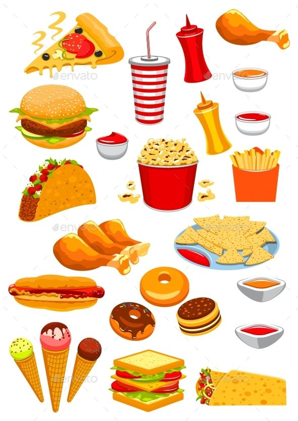 Fast food vector isolated. Hotdog clipart chicken pizza