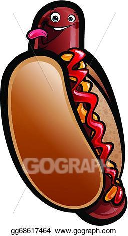 Vector cartoon hot dog. Hotdog clipart frank