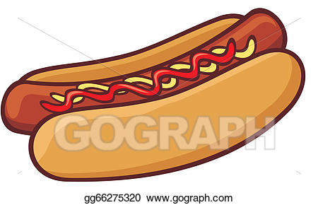 Vector art hot dog. Hotdog clipart frankfurter