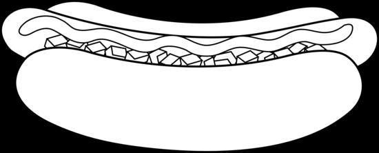 Hot dog black and. Hotdog clipart outline