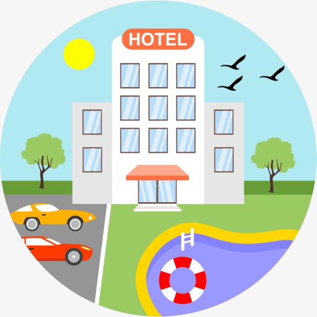 Cartoon hand drawing painted. Hotel clipart