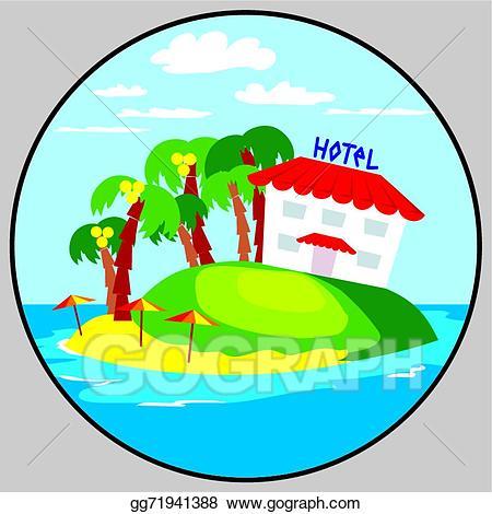 Hotel clipart beach hotel. Vector illustration emblem eps