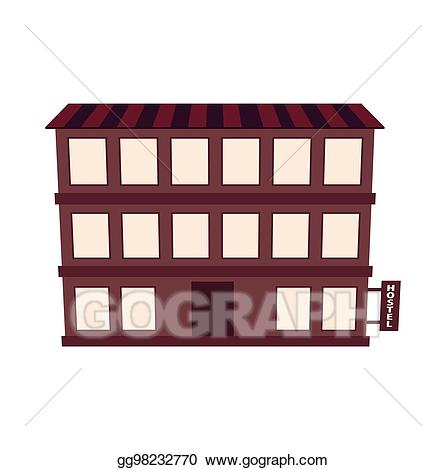 Hotel clipart hostel building. Eps illustration guest house