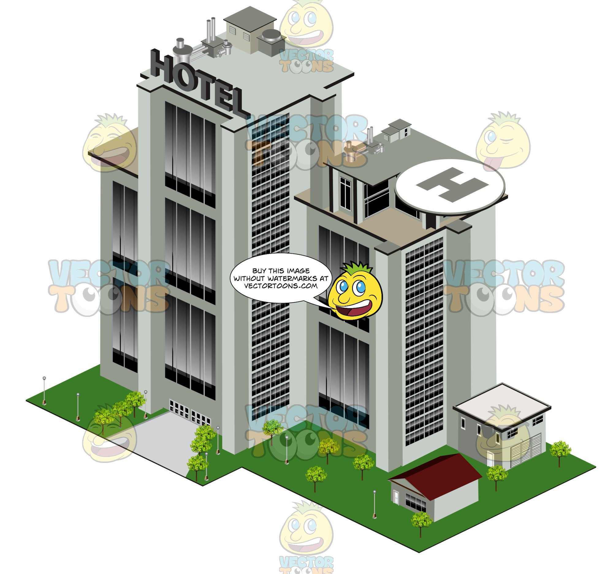 Large with helicopter pad. Hotel clipart hotel building