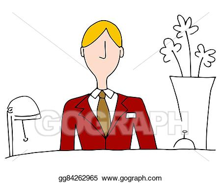 Hotel clipart hotel front desk. Vector art manager drawing