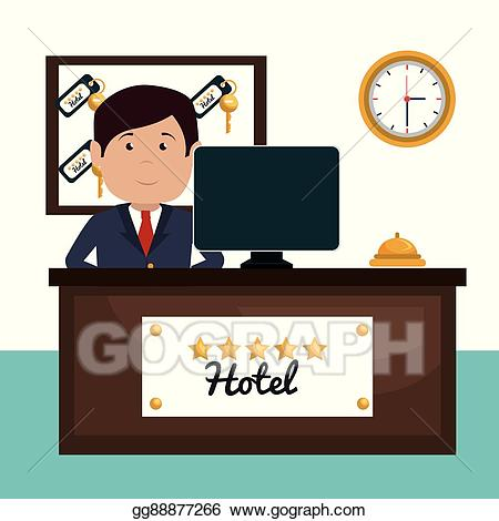 Vector stock service isolated. Hotel clipart hotel receptionist