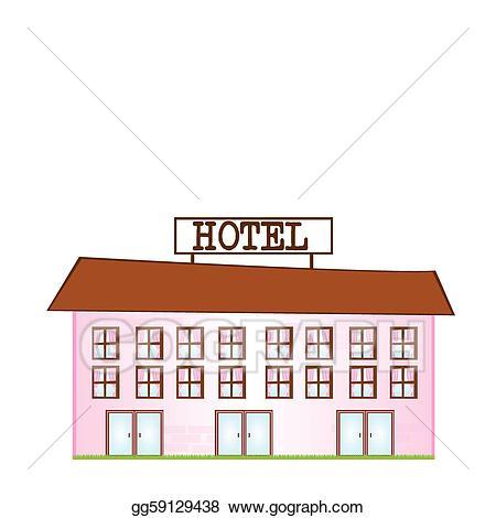 Vector art cartoon drawing. Hotel clipart pink building