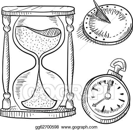 Vector art sundial and. Hourglass clipart chronometer