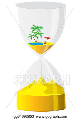 Vector illustration the time. Hourglass clipart inevitable