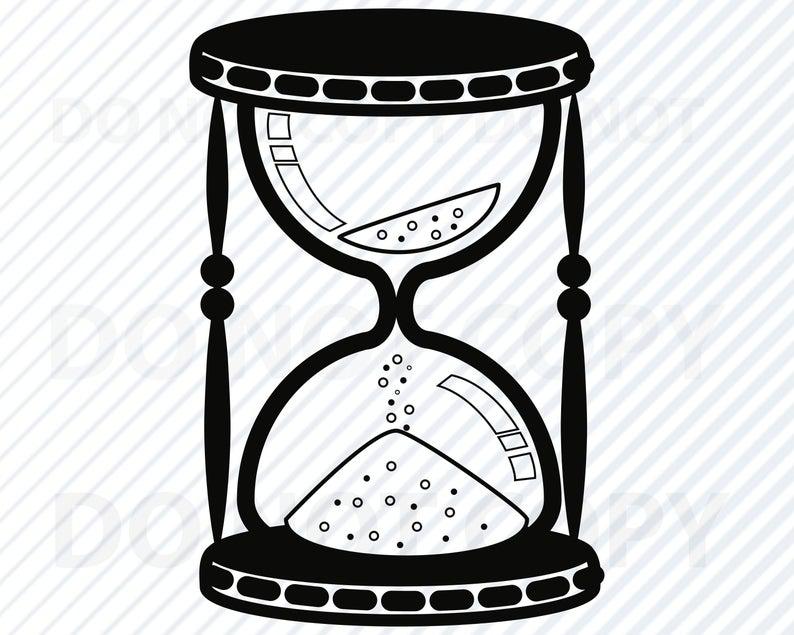 Hourglass clipart silhouette. Svg file for cricut
