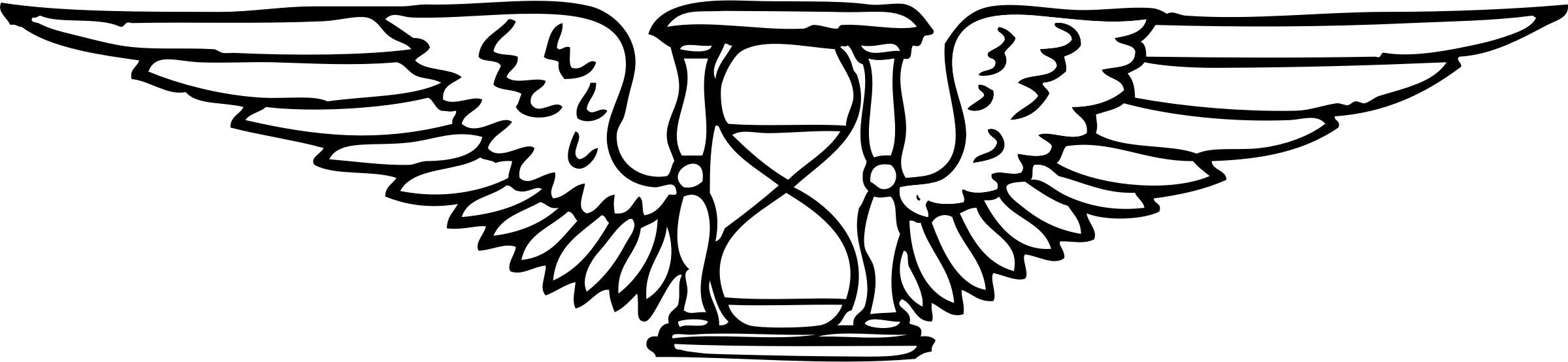 Winged time flies tattoo. Hourglass clipart simple