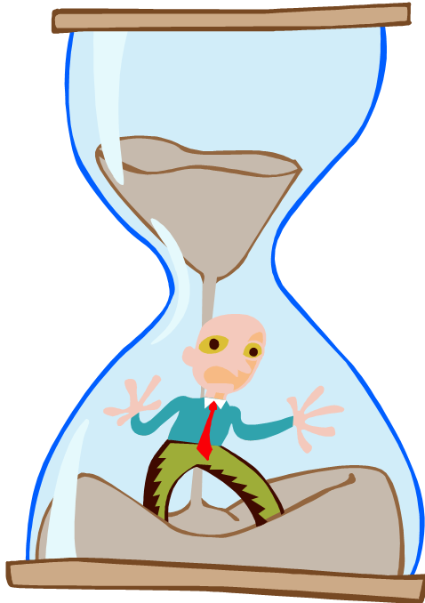 Crossing the line urgency. Hourglass clipart timely