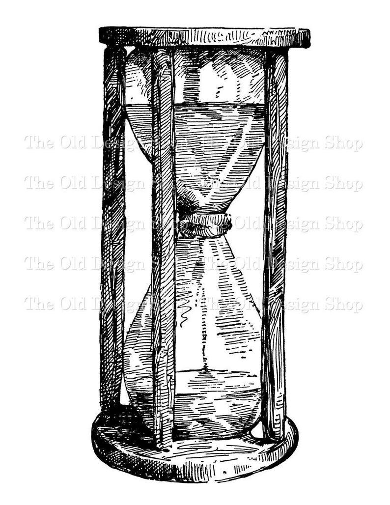 Rustic clip art illustration. Hourglass clipart vintage