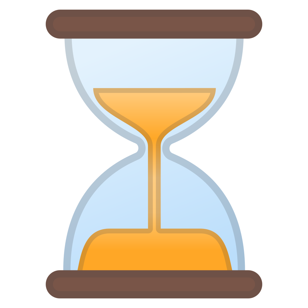 Not done icon noto. Hourglass clipart yellow