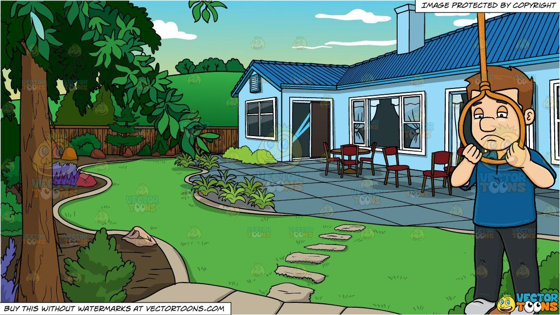 Cartoon a male about. House clipart backyard