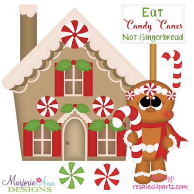 Exclusive svg cutting files. House clipart candy cane