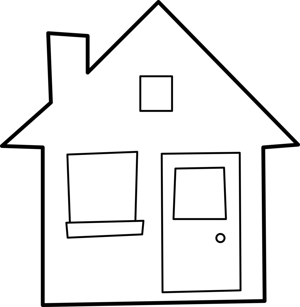 Outline pencil and in. House clipart colored