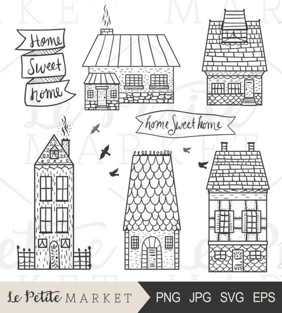 House clipart doodle. Hand drawn homes clip