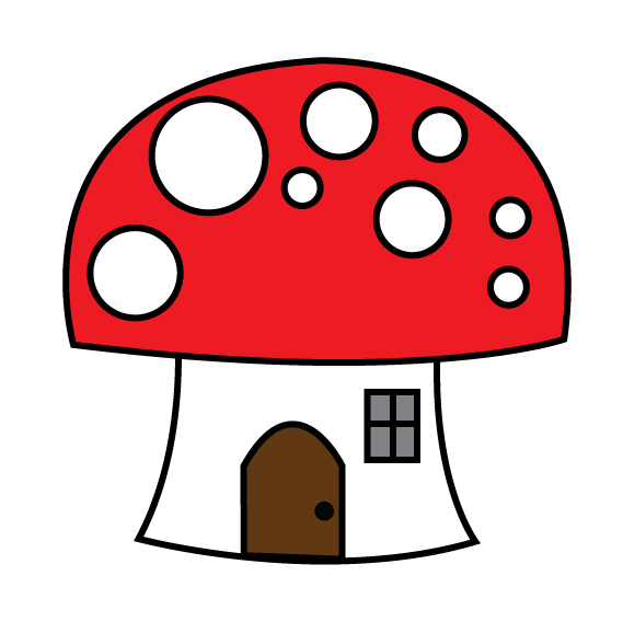 Eri mushroom red and. House clipart doodle