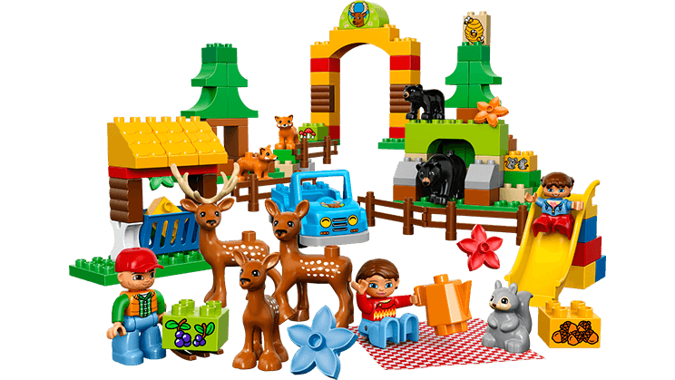 Small girl build a. House clipart forest
