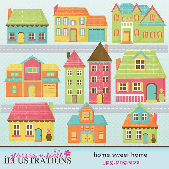 Neighborhood clipart 4 house. Home sweet cute digital