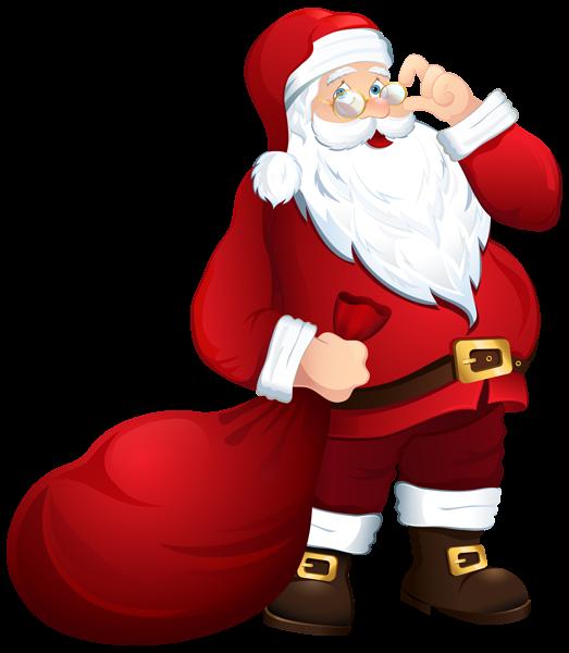 Santa claus with bag. House clipart santas