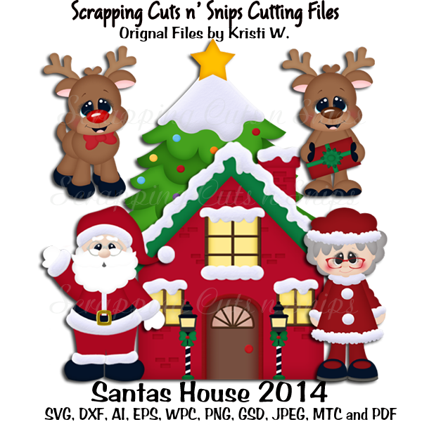 Cutting files sets scrapping. House clipart santas