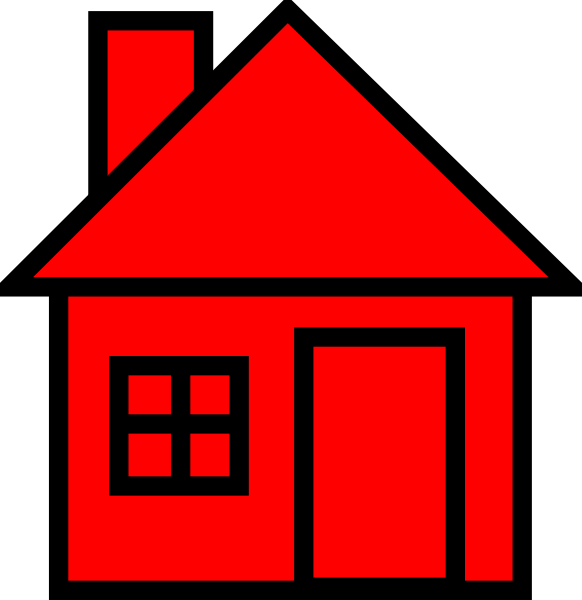 House clipart small. Red black clip art