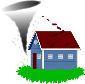 Image about to hit. Houses clipart tornado