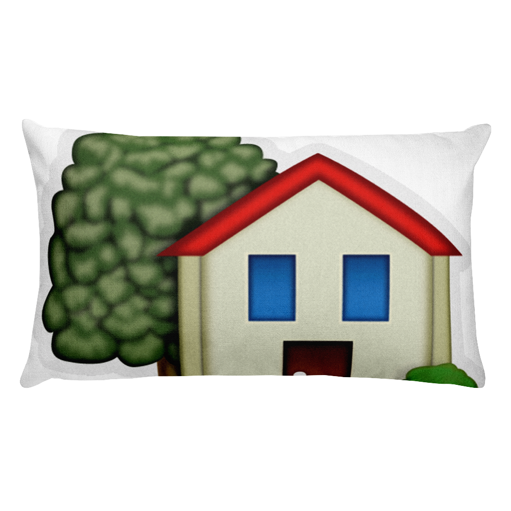 House emoji png. Bed pillow with garden