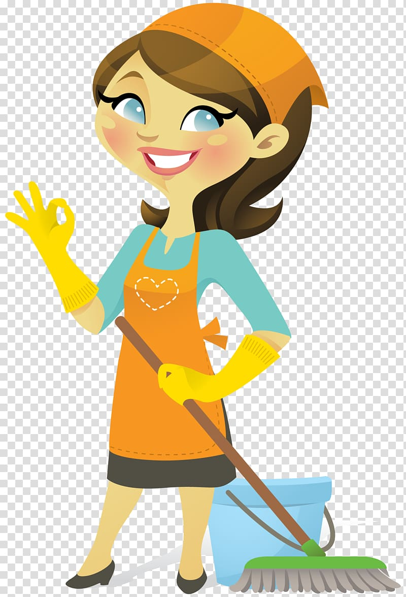 Woman wearing cleaning item. Maid clipart cute