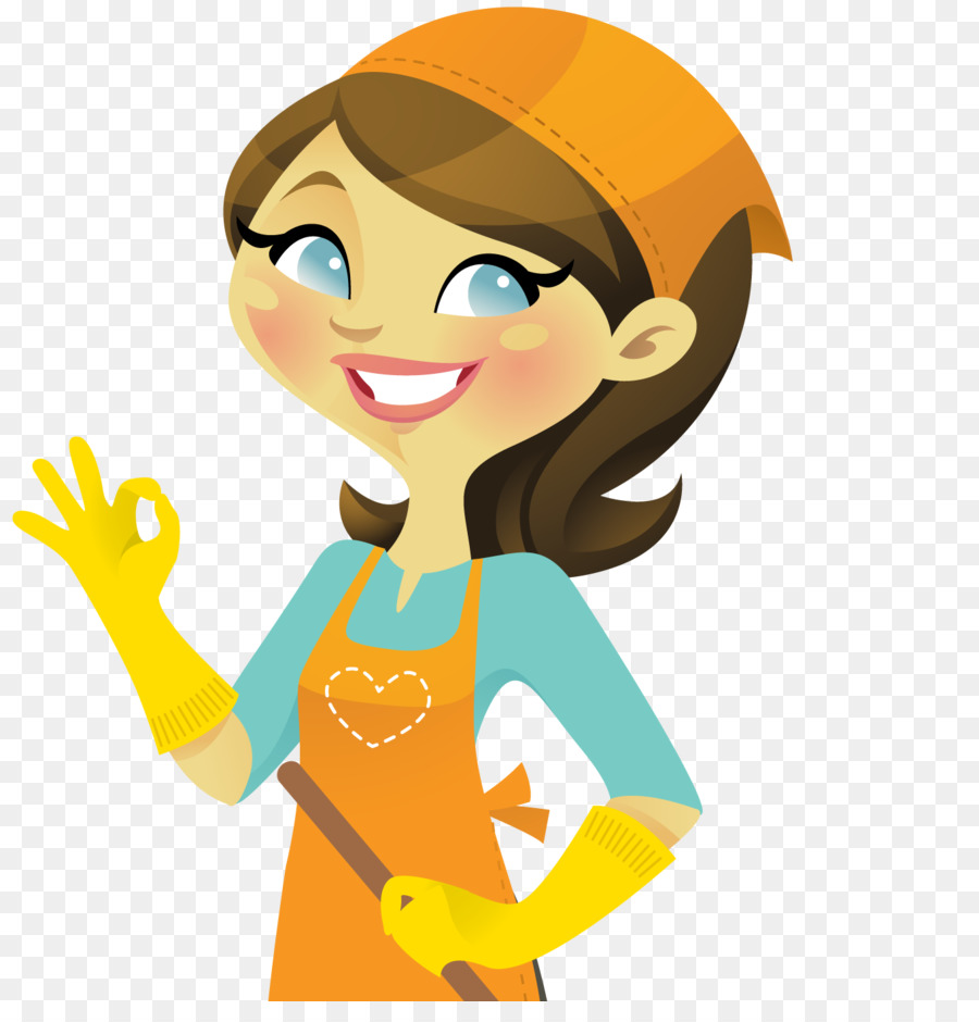 Woman cleaning house yellow. Housekeeping clipart cartoon