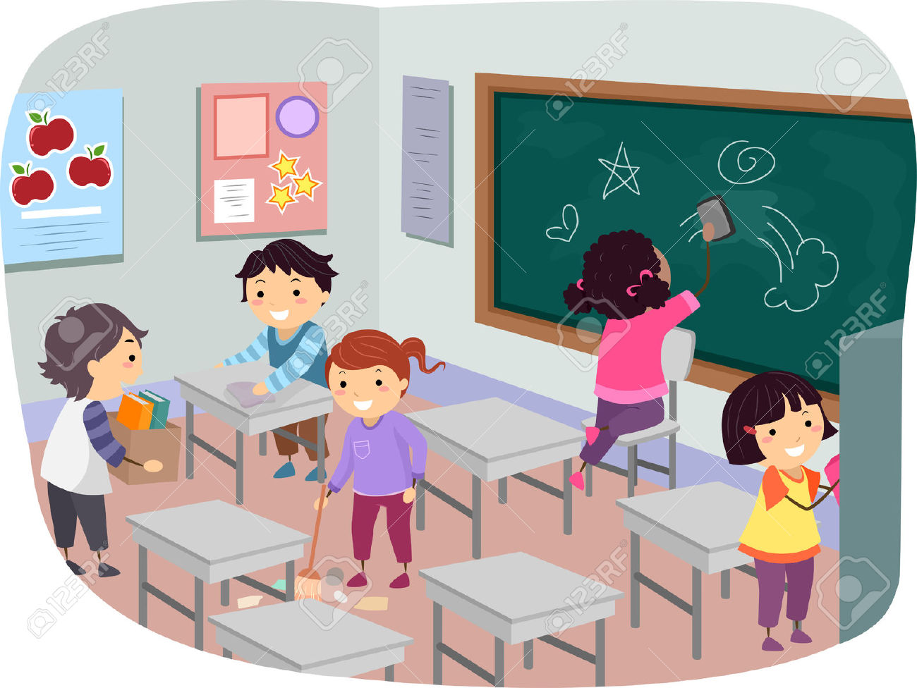 Housekeeping clipart classroom. Children cleaning station