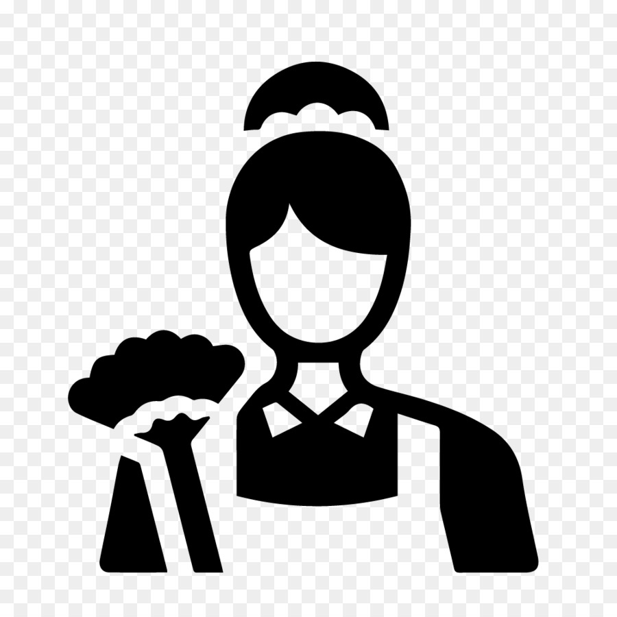Maid clipart icon. Service cleaning silhouette font