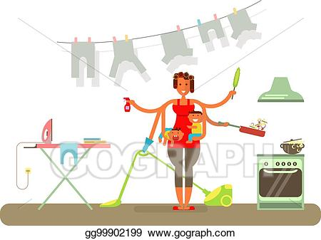 Housekeeping clipart homemaker. Eps illustration is cleaning