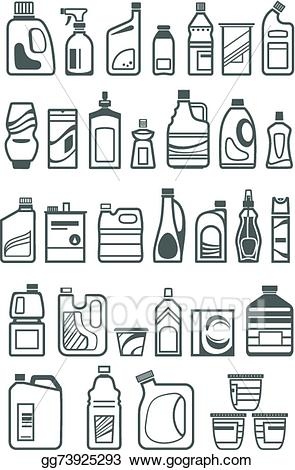 Vector illustration chemicals icons. Housekeeping clipart household chemical