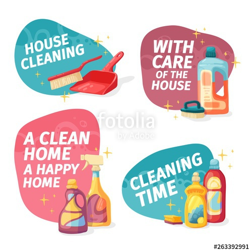 Housekeeping clipart household chemical. Set design banner house