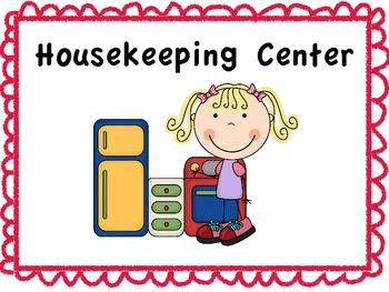 Classroom learning signs kindergarten. Housekeeping clipart housekeeping center