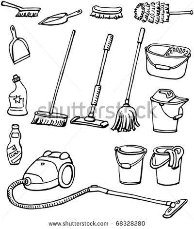 Cleaning equipment set of. Housekeeping clipart housekeeping tool