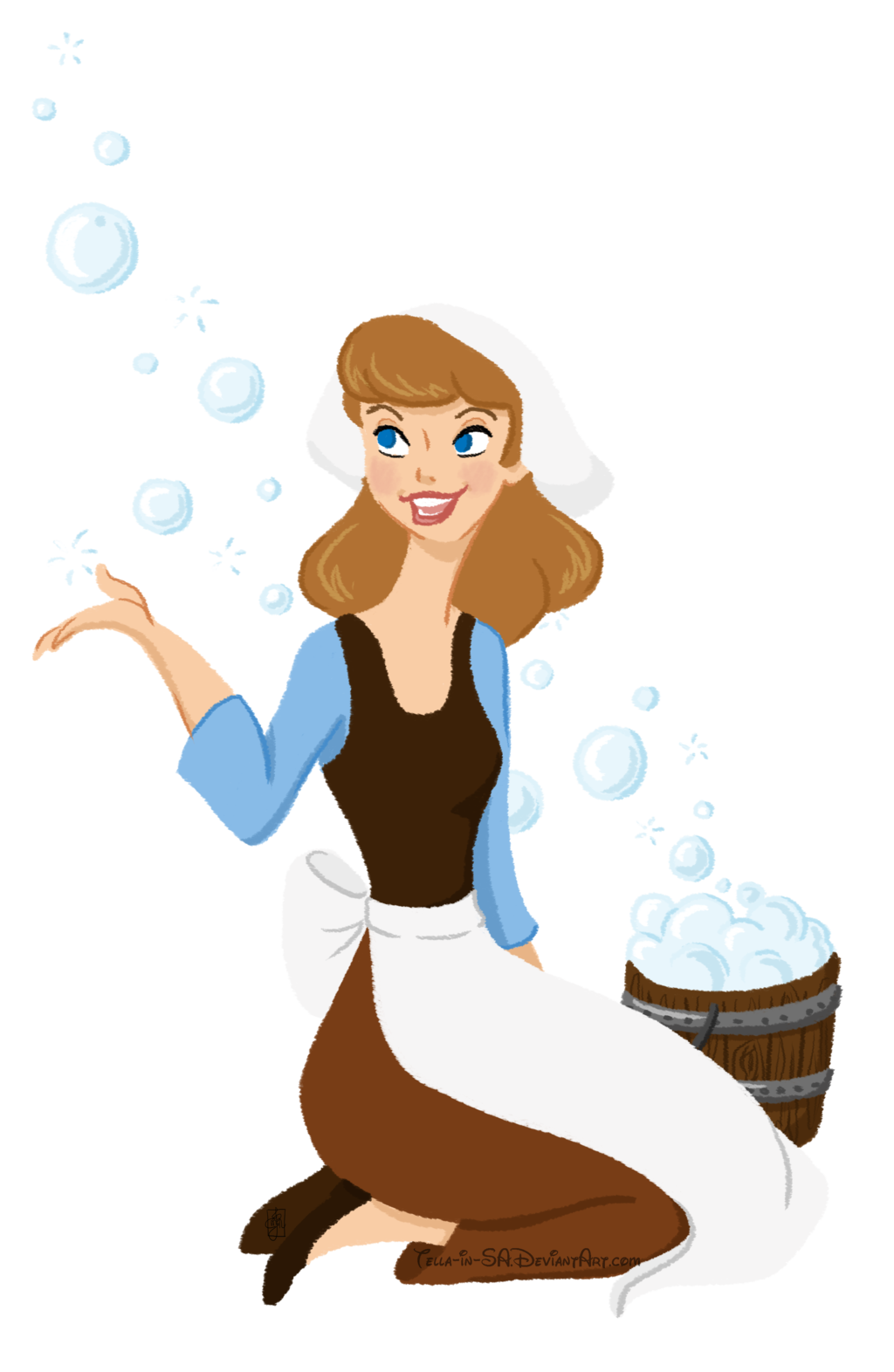 Peasant princess cinderella by. Housekeeping clipart maiden