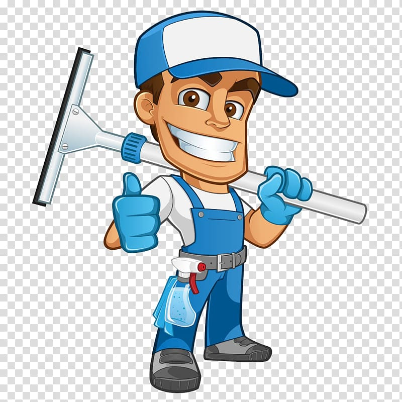 Man holding mop illustration. Housekeeping clipart male
