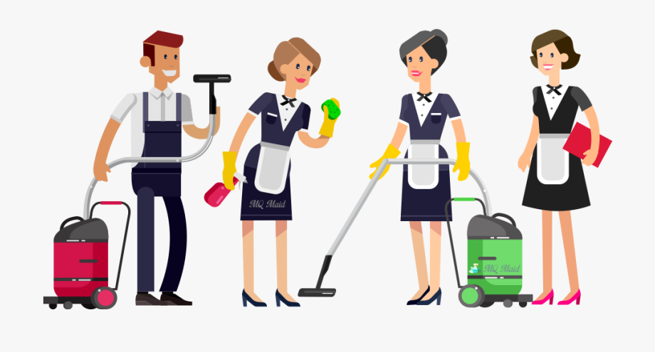 Maid house cleaning team. Housekeeping clipart room attendant