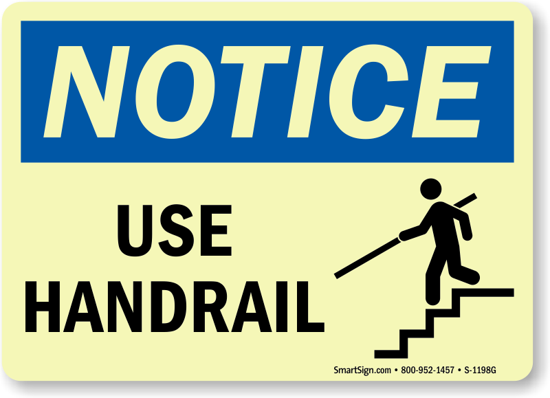 Handrail signs use mysafetysign. Housekeeping clipart safety signage