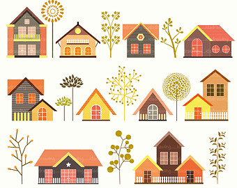 Houses clipart.  hand drawn digital