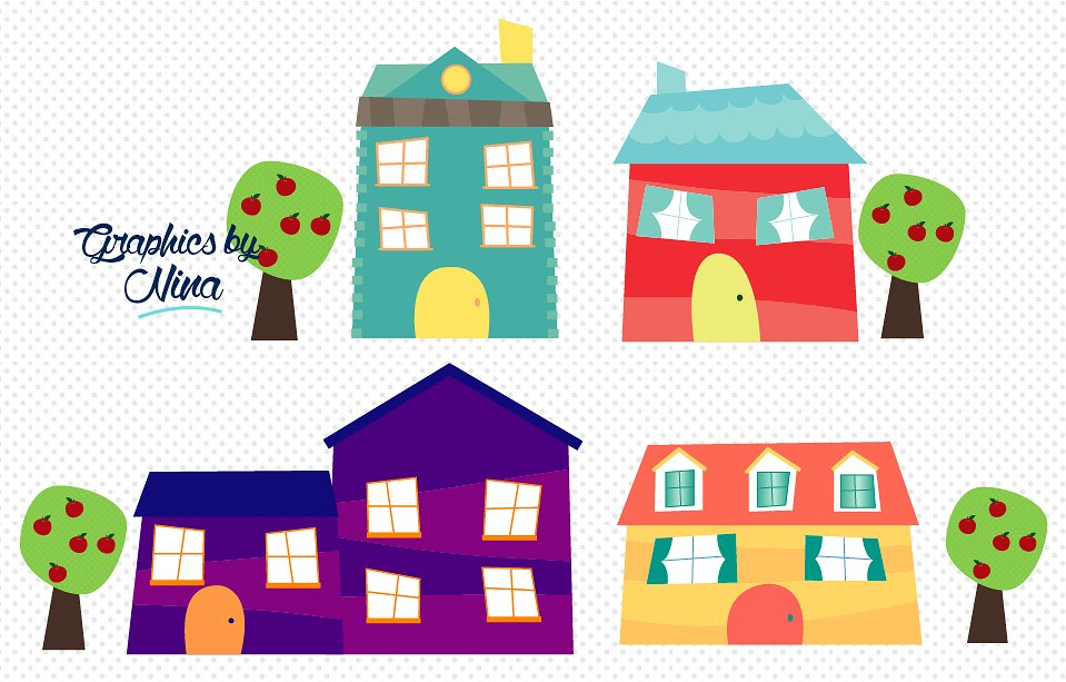 Cute little illustrations creative. Houses clipart