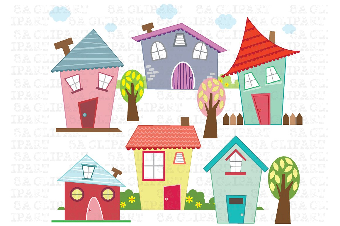Little digital clip art. Houses clipart