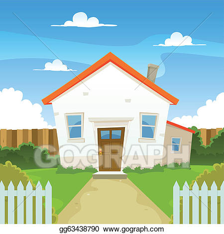 Vector house illustration gg. Houses clipart backyard